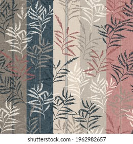 seamless leaves Pattern on Stripes