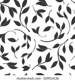 Seamless Leaves pattern. Vector black and white background and texture.