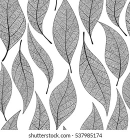 Seamless leaves pattern. Vector Black and white background