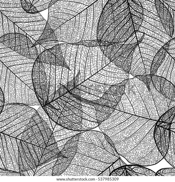 Seamless leaves pattern. Vector Black and white background texture