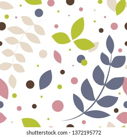 Seamless leaves pattern. Vector illustration