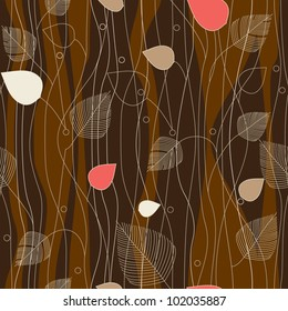 Seamless Leaves and trees pattern, on coffee background color variation. Pattern color swatch included