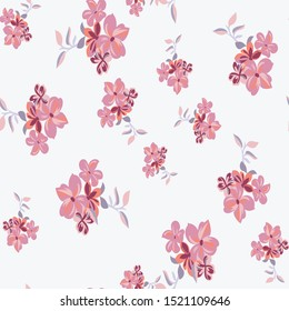 Seamless leaves with vector flower Pattern on white   Background