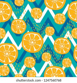 Seamless lemon fresh print pattern vector