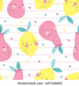 seamless lemons and pears pattern vector illustration