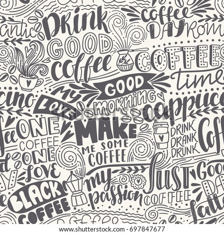 Seamless Lettering Coffee Pattern Quotes Hand Stock Vector Royalty Cool Pattern Quotes