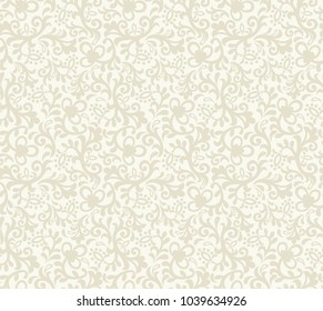 Seamless light background with beige floral pattern. Vector retro illustration. Ideal for printing on fabric or paper for wallpapers, textile, wrapping.