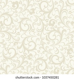 Seamless light background with beige pattern in baroque style. Vector retro illustration. Ideal for