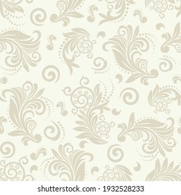 Seamless light background with beige pattern in baroque style. Vector retro illustration. Ideal for printing on fabric or paper for wallpapers, textile, wrapping.