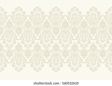 Seamless light background with beige pattern in baroque style. Vector retro illustration. Ideal for printing on fabric or paper.