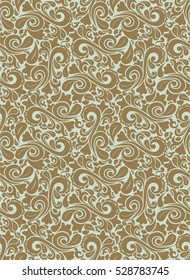 Seamless light background with gold pattern in baroque style.