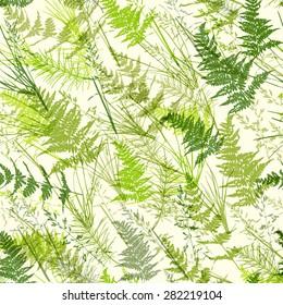 Seamless light green realistic leaf pattern. Vector illustration