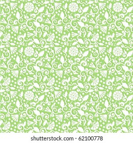 Seamless Light Green And White Floral Pattern Vector Background Wallpaper Print Swatch