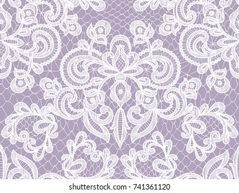 Seamless lilac lace background with floral pattern