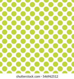 Seamless lime green polka dots pattern texture background