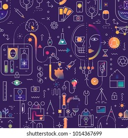 Seamless line art pattern on the theme of technology, industry, science.