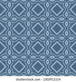 Seamless Line Geometric Pattern. Abstract Geometry Flower. Vector Illustration. Interior Decoration, Wallpaper, Presentation, Fashion Design . Pastel Blue Color.