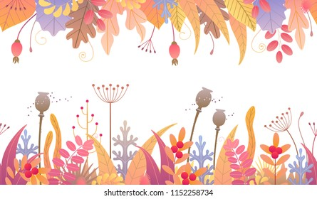 Seamless line horizontal pattern with colorful leaves, dried grass and berries on white background. Endless border with simple elements of autumn plants in two rows. Vector flat floral decoration.