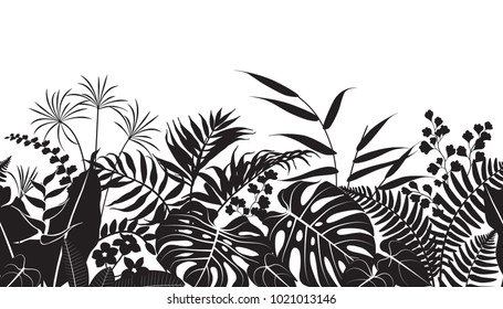 Seamless line horizontal pattern made with tropical plants silhouette. Black and white floral texture with  monstera, palm, ficus, fern leaves in row. Monochrome vector flat illustration.