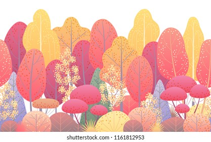 Seamless line horizontal pattern made with colorful autumn forest trees and bushes on white background. Endless texture with simple elements of plants.  Fall foliage vector flat illustration.