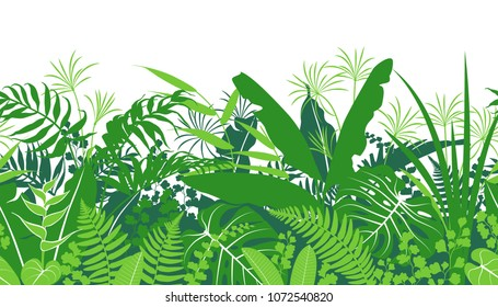 Seamless line horizontal pattern with tropical plants silhouette. Green  foliage texture with leaves in row. Vector flat illustration.