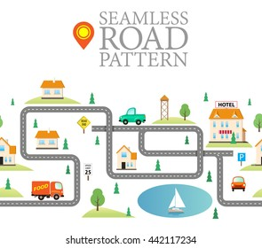 Seamless Line Pattern with Houses and Endless Road on White. Modern Vector Illustration for Print or Cover Design. Funny City in Flat Style