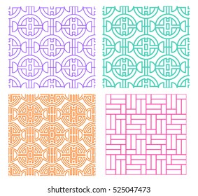 Seamless line pattern in modern Chinese style