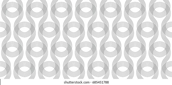 Seamless line pattern, screen print texture, monochrome texture of curved lines, seamless geo, geometric  minimalist background, black and white vector graphic