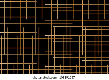 Seamless line pattern vctor. Vertical and horizontal random gold on black background. Design print for textile, fabric, wallpaper, screen, background. Set 2