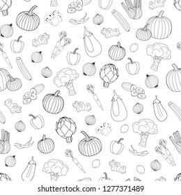 Seamless line style hand drawn pattern with collection of different vegetables and fruits. Seamless repeat surface vector pattern