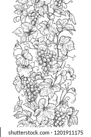 Seamless line vertical pattern made with monochrome grape branches with leaves and berries. Hand drawn black and white border with grapes in row. Vector sketch.