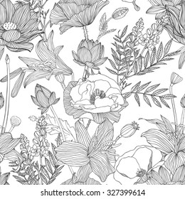 Seamless linear pattern - assorted flowers