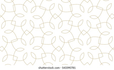 Seamless linear pattern with crossing thin curved lines and scrolls. Golden abstract geometric texture on white. Stylish background in gray and white colors.
