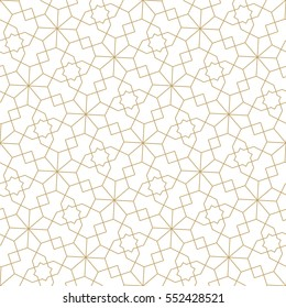 Seamless linear pattern with straight thin  golden lines forming stylish ornamental wallpaper on white backdrop. Abstract light texture. Geometric background.