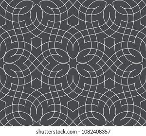 Nahtloses lineares Muster mit dünnen Linien und Rollen. Monochrome abstrakte Blumenmuster. Ziergitter.