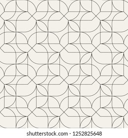 Seamless linear pattern with thin curl lines and arcs. Monochrome abstract swatch. Decorative vector lattice. Modern geometric bacground.