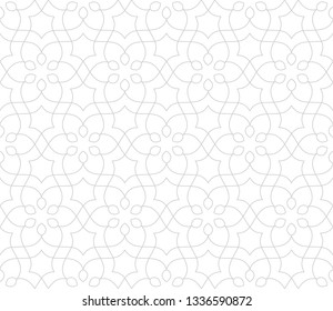 Seamless linear pattern with thin curl lines and scrolls. Monochrome abstract floral pattern in Arabic style. Decorative vector lattice. Modern white bacground.