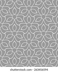 Seamless linear pattern with thin curl lines and scrolls. Abstract Vector Illustration.