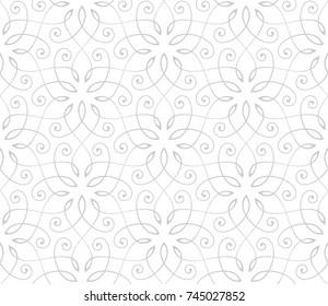 Seamless linear pattern with thin curl lines and scrolls. Abstract floral pattern. Decorative lattice in Arabic style.
