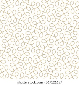 Seamless linear pattern with thin elegant curved golden  lines forming floral ornamental wallpaper. Abstract texture. Geometric light background.