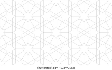 Seamless linear pattern with thin grey lines and polygons on white background. Abstract geometric texture. Stylish background in grey and white colors.