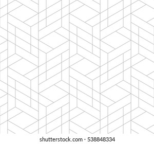 Seamless linear pattern with thin poly lines and polygons. Abstract geometric texture with geometric shapes. Stylish background in gray and white colors.