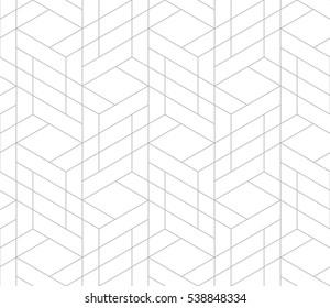 Nahtloses lineares Muster mit dünnen Poly-Linien und Polygone. Abstrakte geometrische Struktur mit geometrischen Formen. Stilvoller Hintergrund auf grauem und weißem Hintergrund.