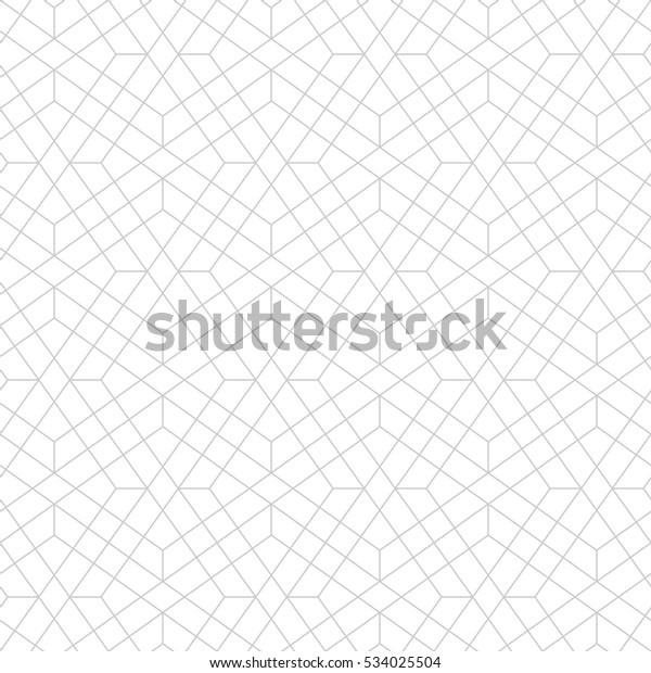 Nahtloses lineares Muster mit dünnen Poly-Linien, Polygone und. Abstrakte geometrische Struktur mit Überquerung dünner Linien. Stilvoller Hintergrund auf grauem und weißem Hintergrund.