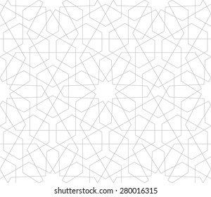 Seamless linear pattern with thin poly-lines, polygons and twelve pointed star in the traditional Arabic style on white background.