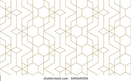 Seamless linear pattern with thin straight golden lines and polygons. Abstract geometric texture. Stylish background. Vector rapport for swatches.