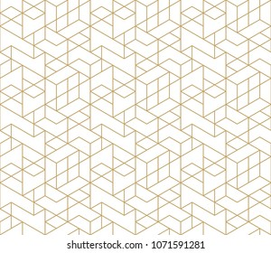 Seamless linear pattern with thin straight golden lines and polygons  on white background. Abstract geometric texture. Stylish background. Vector rapport for swatches.