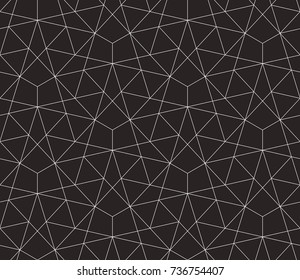 Seamless linear pattern with thin straight lines and polygons. Abstract geometric texture. Stylish background. Vector rapport for swatches.