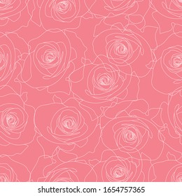 Seamless, linear, pink-white outline of a rose. Design for wallpaper, covers, festive wrapping paper, printed fabric.
