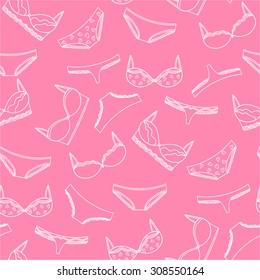 Seamless lingerie pattern. Vector bras and panties design. Pink underwear background.